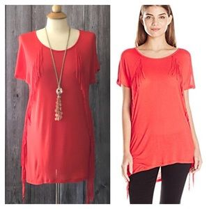 Kensie Red Fringe Tunic Length Tee